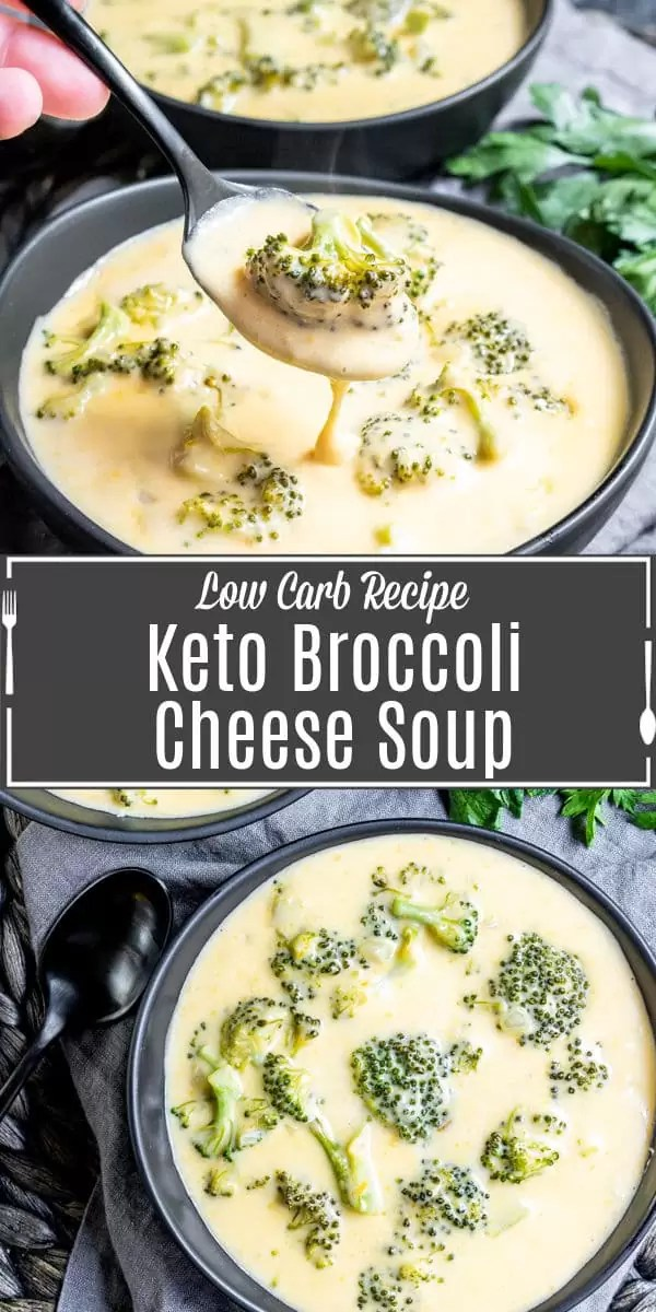Pinterest image for Keto Broccoli Cheese Soup with title text
