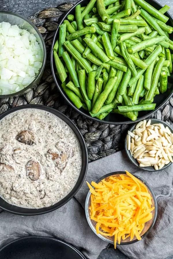 ingredients for Keto Green Bean Casserole