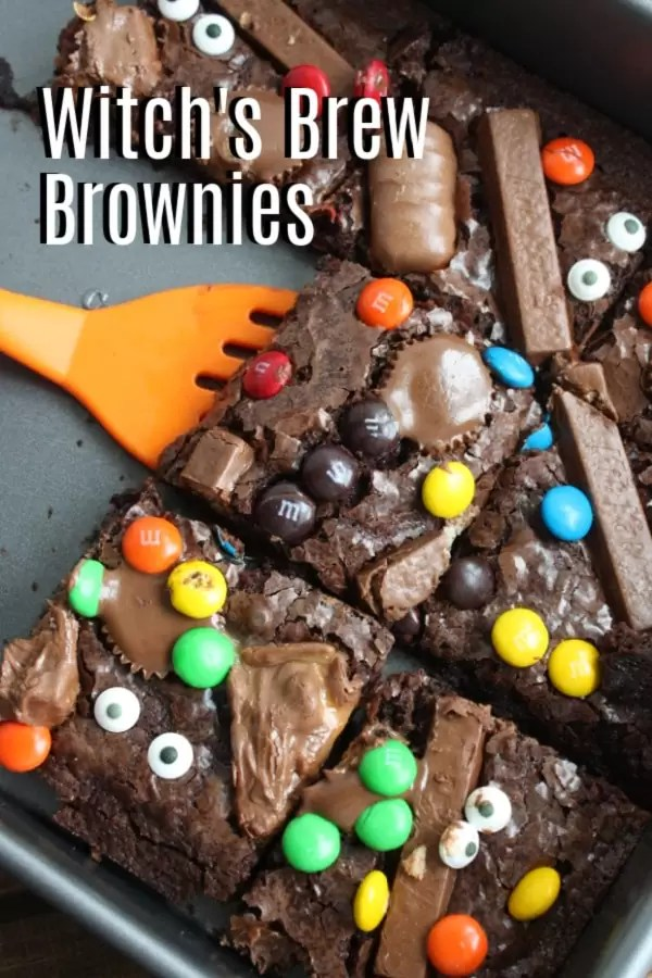 Pinterest image for Witch's Brew Brownies with title text