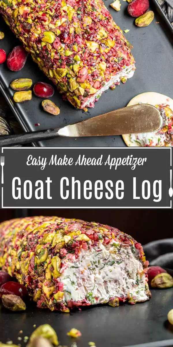 Pinterest image for Cranberry Goat Cheese Log with title text