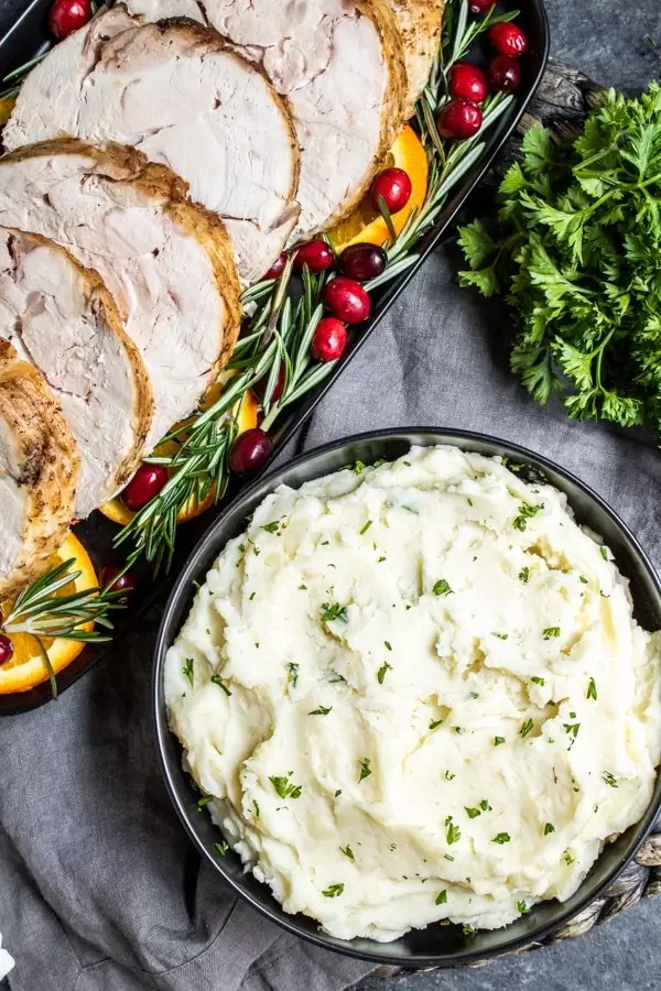 turkey breast and Instant Pot Mashed Potatoes