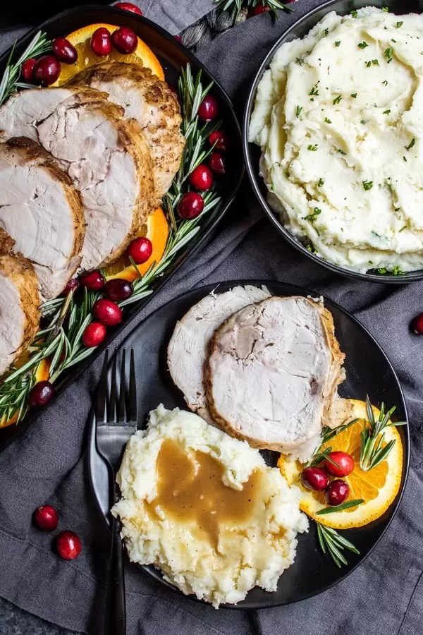 Thanksgiving dinner with Instant Pot Mashed Potatoes