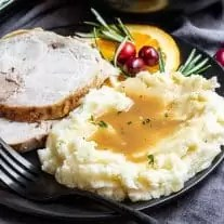 Thanksgiving plate with Instant Pot Mashed Potatoes