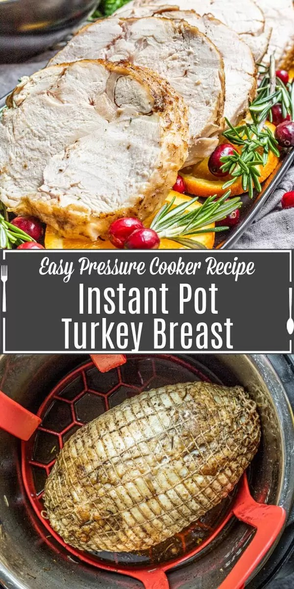 Pinterest image for Instant Pot Turkey Breast with title text