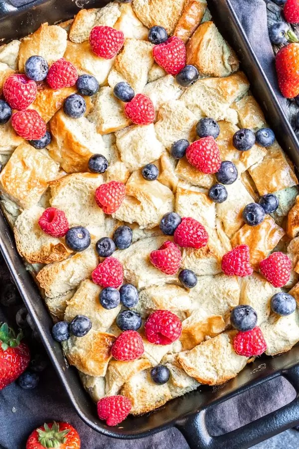 black platter with Overnight French Toast Bake