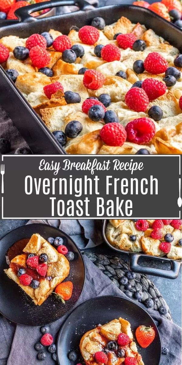 Pinterest image for Overnight French Toast Bake with title text