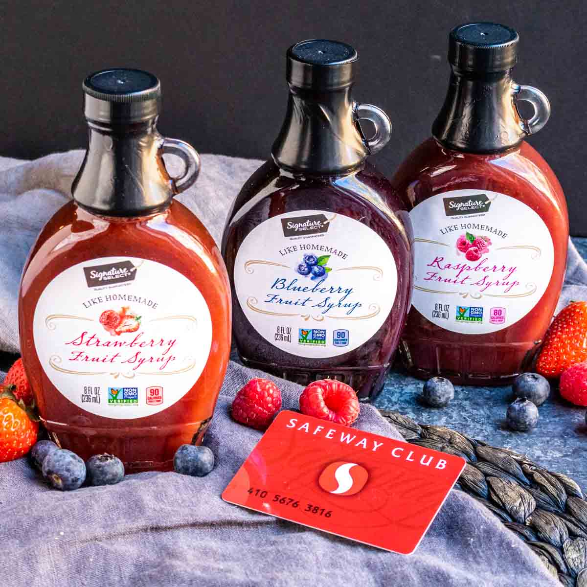 fruit syrup jars from Safeway