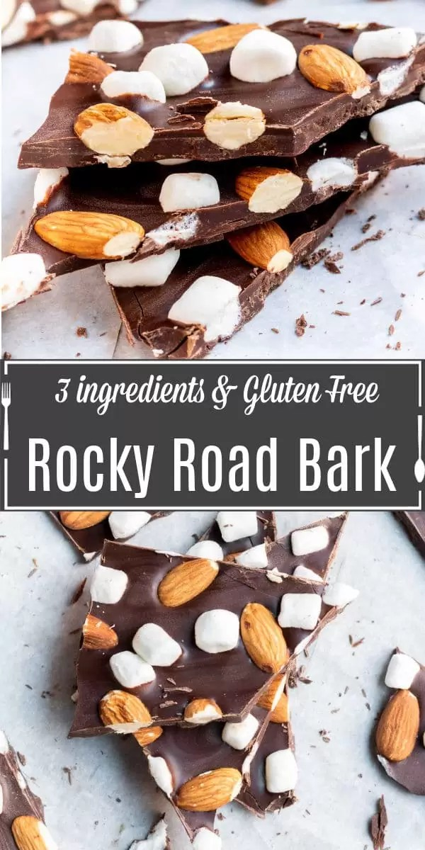 Pinterest image for Rocky Road Chocolate Bark with title text