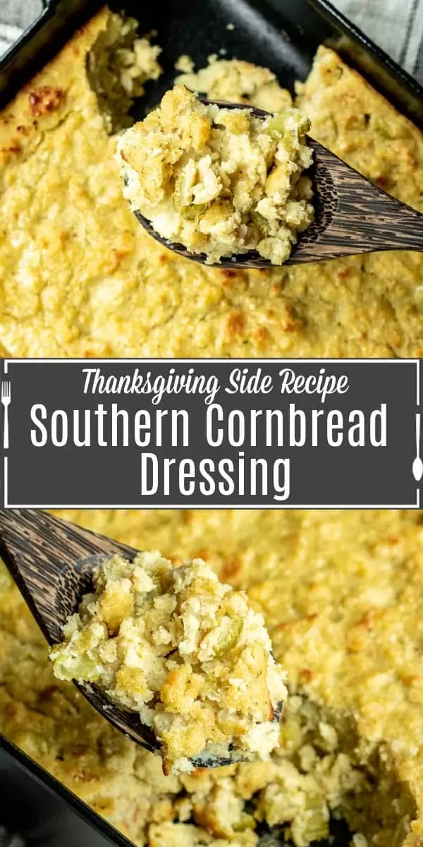 Pinterest image Southern Cornbread Dressing with title text