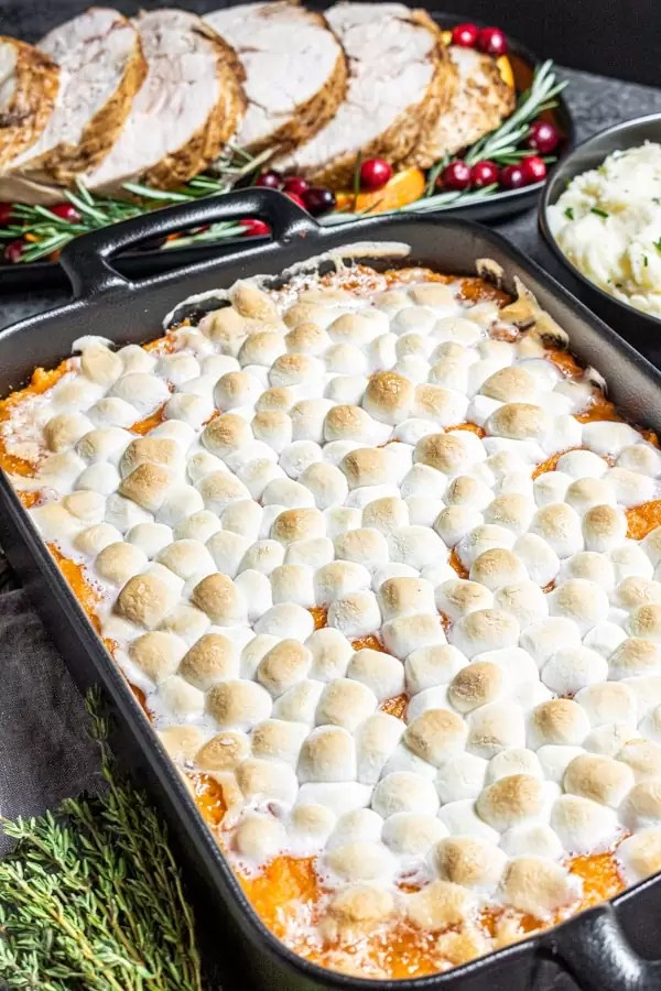 Thanksgiving dinner with Sweet Potato Casserole with Marshmallows