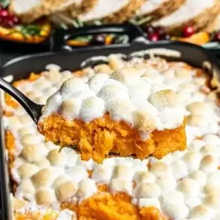 spoonful of Sweet Potato Casserole with Marshmallows
