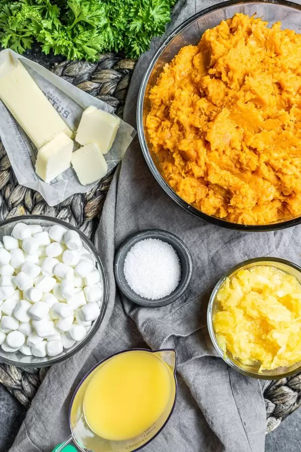 ingredients to make Sweet Potato Casserole with Marshmallows