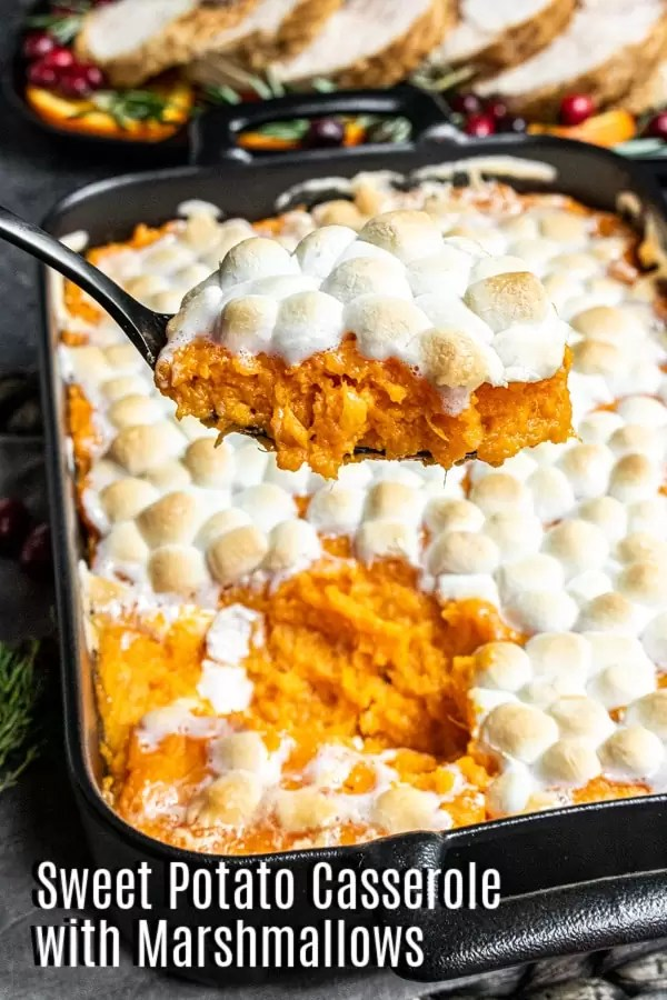Pinterest image for Sweet Potato Casserole with Marshmallows with title text