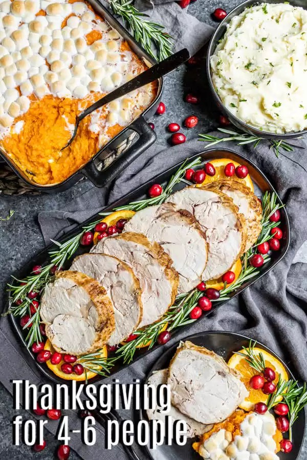 Pinterest image for Thanksgiving Dinner for 4-6 with title text