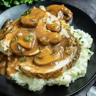 Turkey Marsala over mashed potatoes