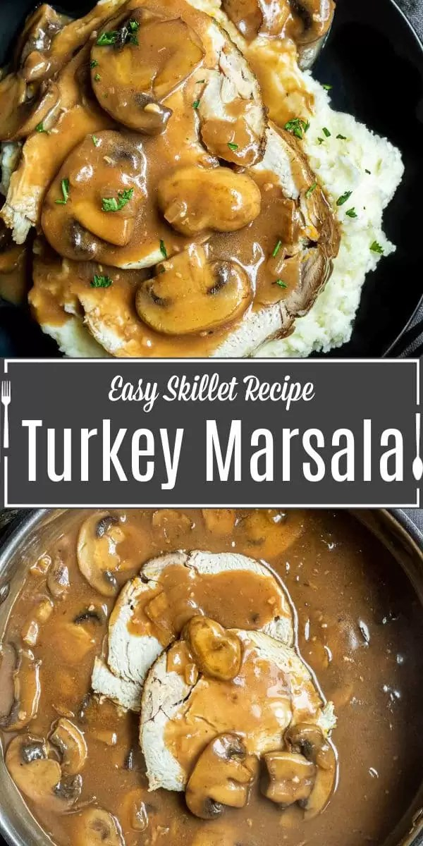 Pinterest image for Turkey Marsala with title text
