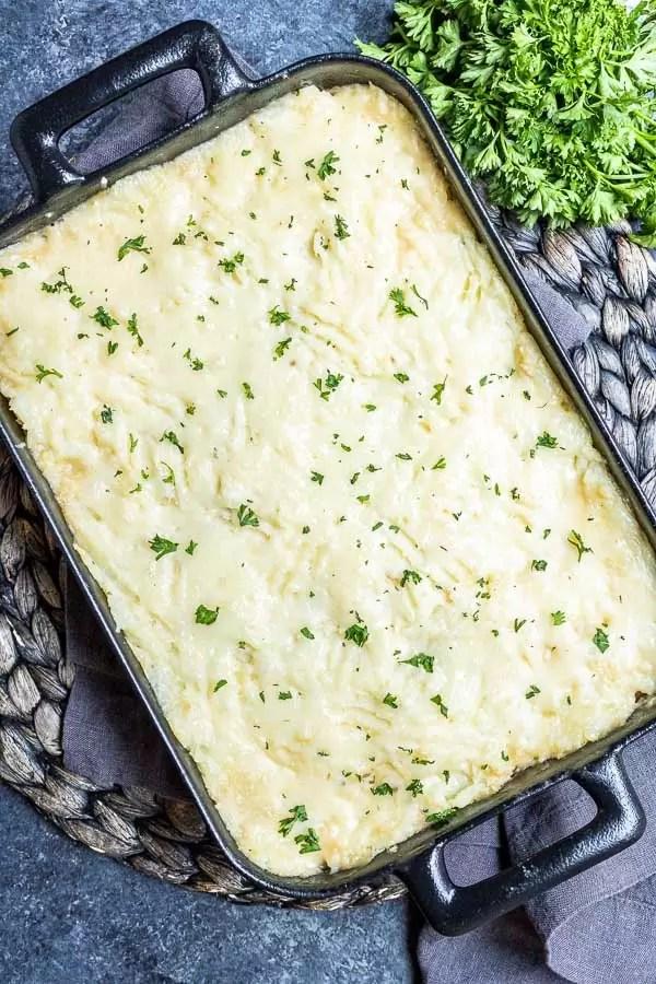 Turkey Shepherd's Pie in a casserole dish