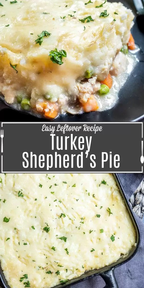 Pinterest image of Turkey Shepherd's Pie with title text
