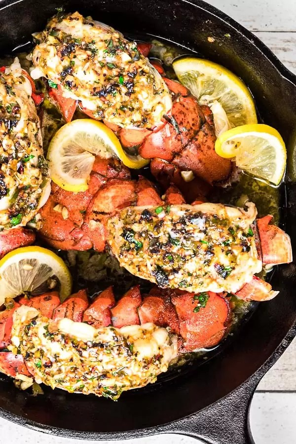 Broiled Lobster Tail in a cast iron skillet