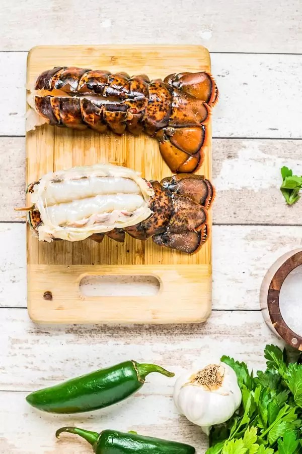 how to cut a Broiled Lobster Tail