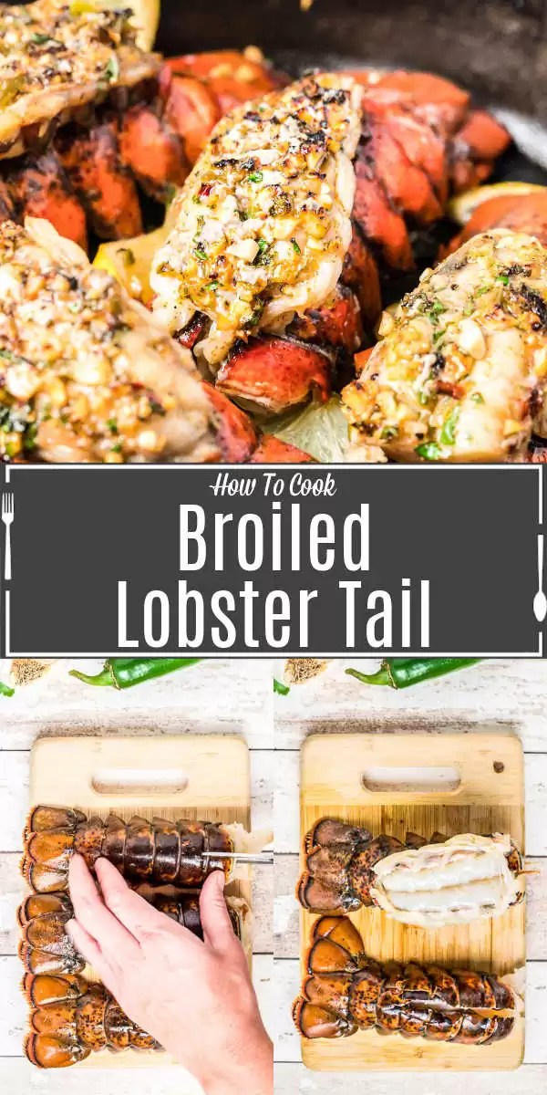 Pinterest image for Broiled Lobster Tail with title text