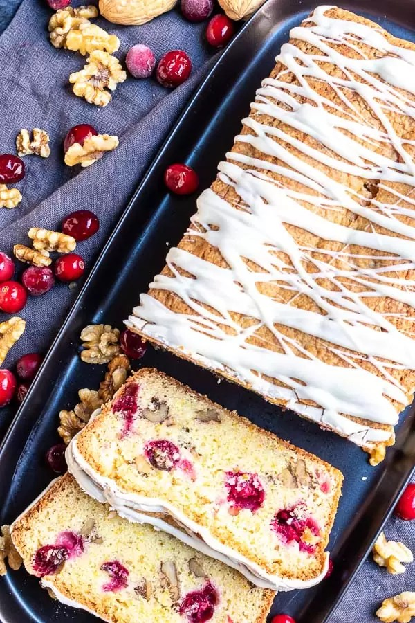 Cranberry Orange Bread with fresh cranberries and walnut