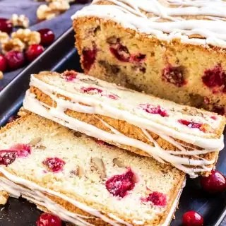 close up of slices of cranberry orange bread