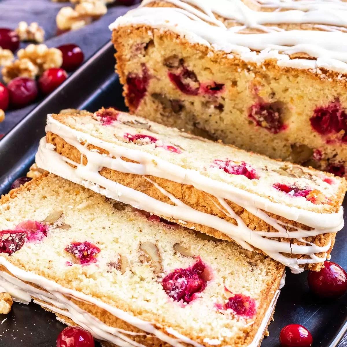 close up of slices of cranberry orange bread