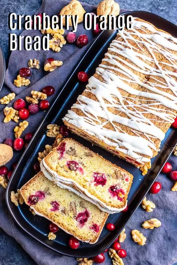 Pinterest image for Cranberry Orange Bread with title text