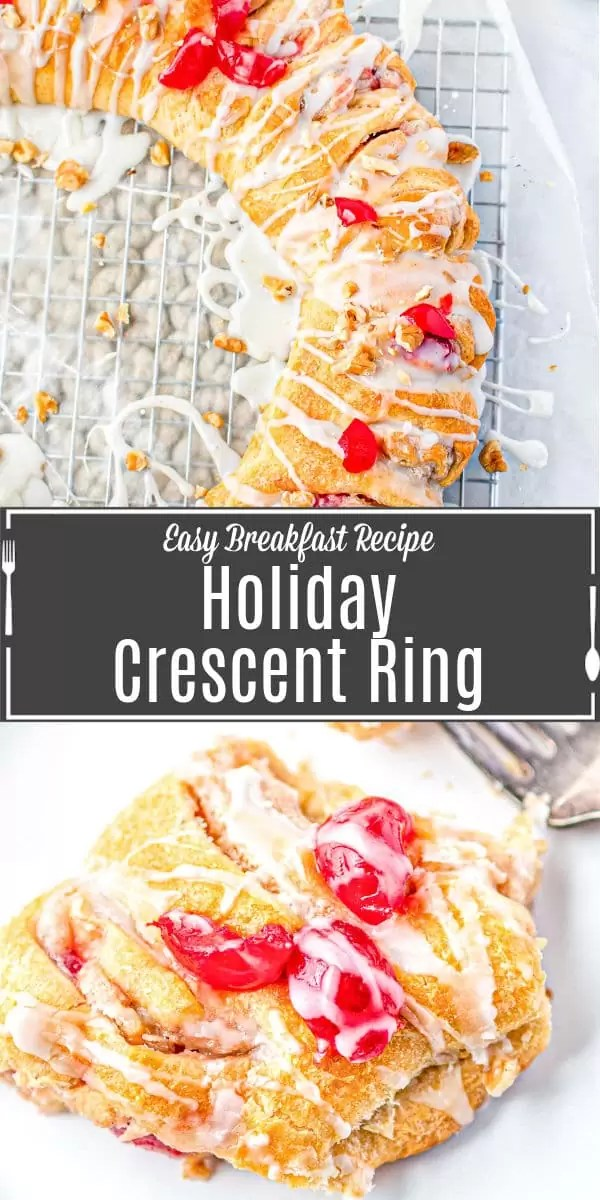 Pinterest image for Holiday Crescent Roll Breakfast Ring with title text