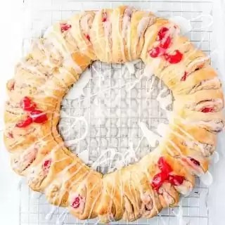top down view of holiday crescent wreath