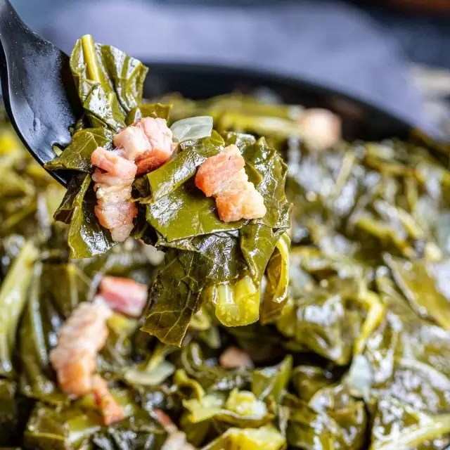 Instant Pot Collard Greens in a black bowl