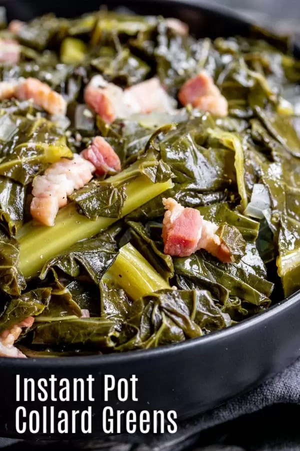 Pinterest image of Instant Pot Collard Greens with title text