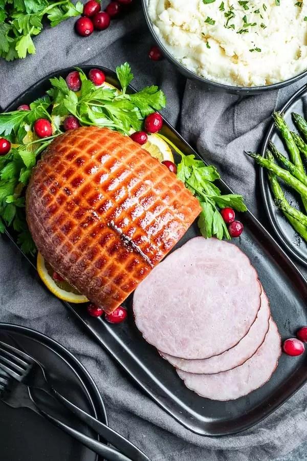Instant Pot Ham on a platter sliced