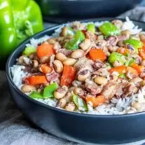 Instant Pot Hoppin' John in a black bowl