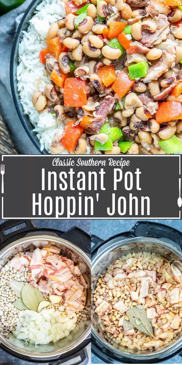 Pinterest image of Instant Pot Hoppin' John with title text
