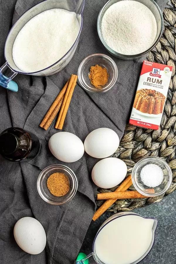Keto Eggnog ingredients