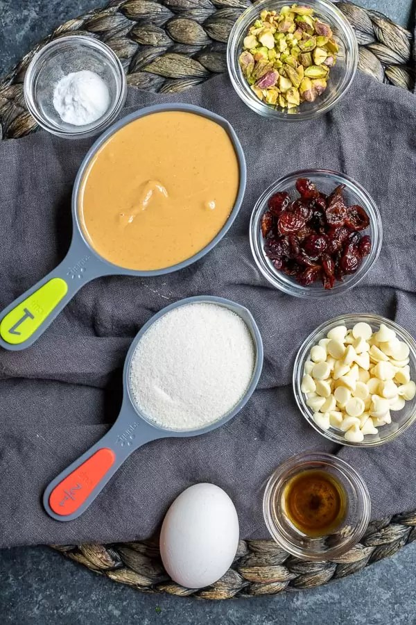 ingredients for Keto Pistachio and Cranberry Cookies
