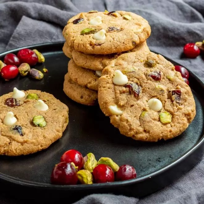 Keto Pistachio and Cranberry Cookies on a plate