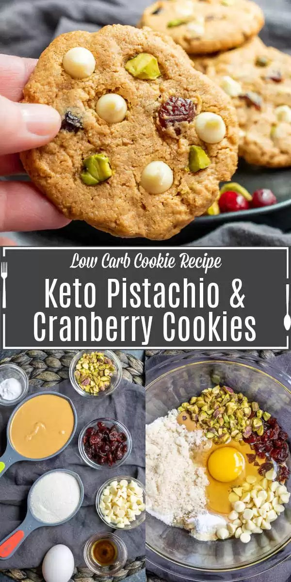 Pinterest image for Keto Pistachio and Cranberry Cookies with title text