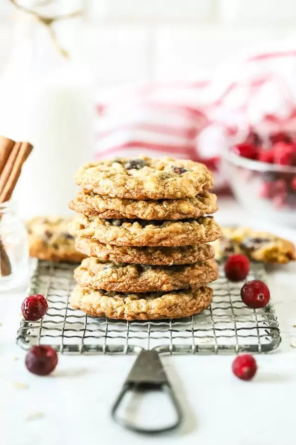 Oatmeal White Chocolate Cranberry Cookies on rack stacked