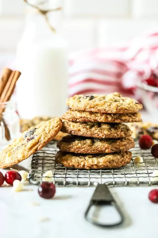 Oatmeal White Chocolate Cranberry Cookies stacked pile
