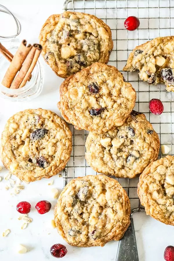 Oatmeal White Chocolate Cranberry Cookies on rack