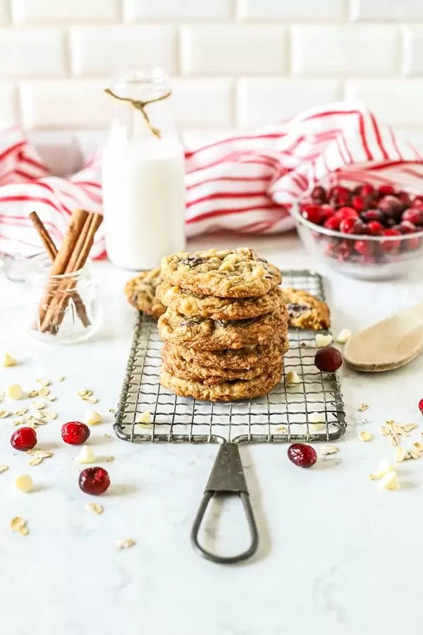 Oatmeal White Chocolate Cranberry Cookies stacked