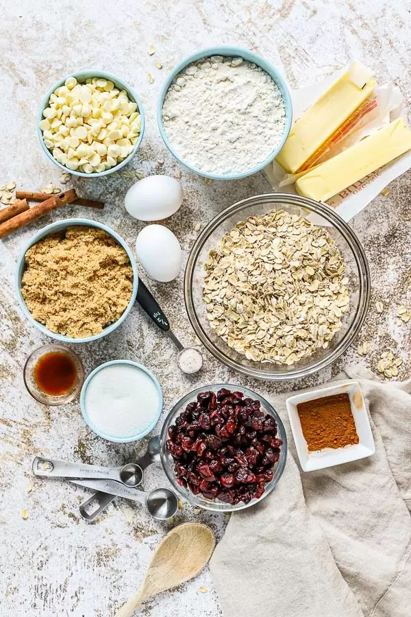 ingredients for mixing Oatmeal White Chocolate Cranberry Cookies