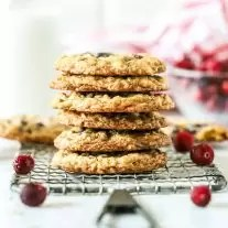 Stack of White Chocolate Oatmeal Cranberry Cookies on a wire rack