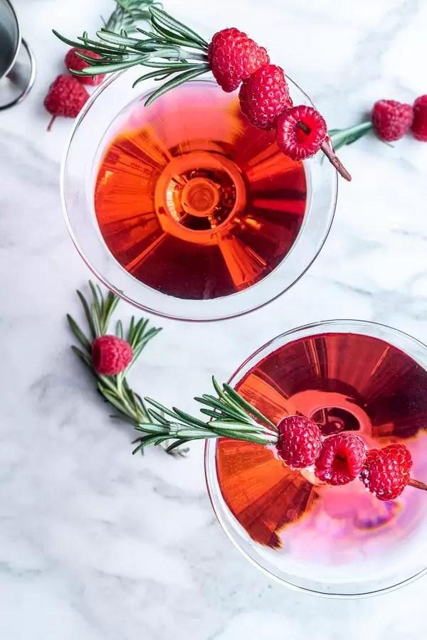 Raspberry Martini with fresh raspberries