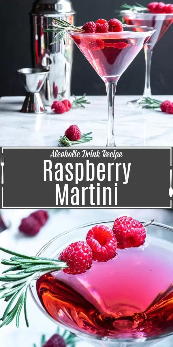 Pinterest image for Raspberry Martini with title text
