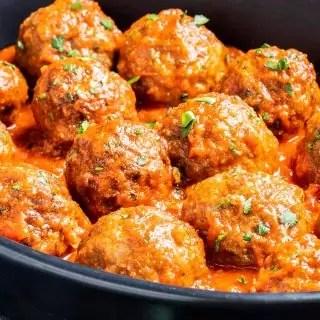 Air Fryer Meatballs served with marinara sauce