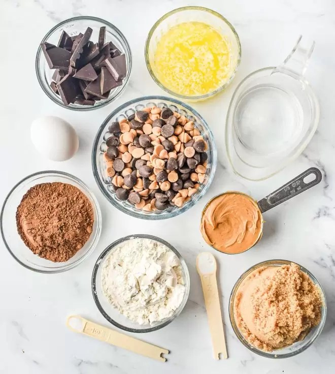 ingredients for Dark Chocolate Peanut Butter Brownies